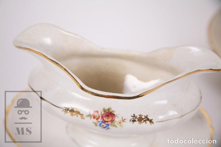 Antigüedades: Conjunto de Sopera, Fuente y Salsera de Loza / San Claudio - Oviedo, Asturias - Motivos Florales - Foto 3 - 166871292