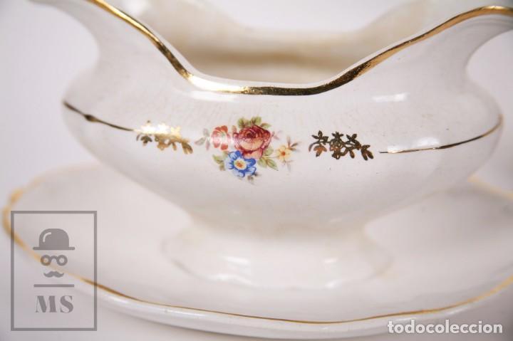 Antigüedades: Conjunto de Sopera, Fuente y Salsera de Loza / San Claudio - Oviedo, Asturias - Motivos Florales - Foto 5 - 166871292