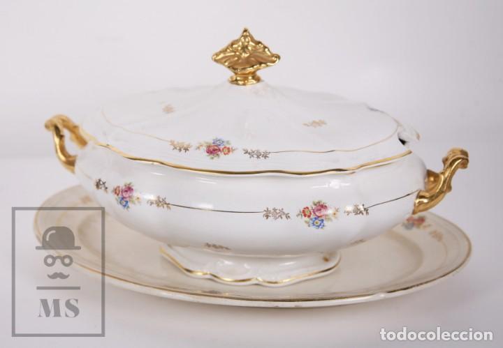 Antigüedades: Conjunto de Sopera, Fuente y Salsera de Loza / San Claudio - Oviedo, Asturias - Motivos Florales - Foto 8 - 166871292