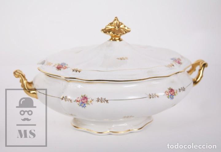 Antigüedades: Conjunto de Sopera, Fuente y Salsera de Loza / San Claudio - Oviedo, Asturias - Motivos Florales - Foto 9 - 166871292