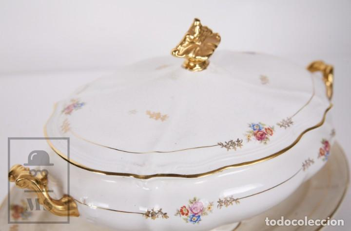 Antigüedades: Conjunto de Sopera, Fuente y Salsera de Loza / San Claudio - Oviedo, Asturias - Motivos Florales - Foto 10 - 166871292