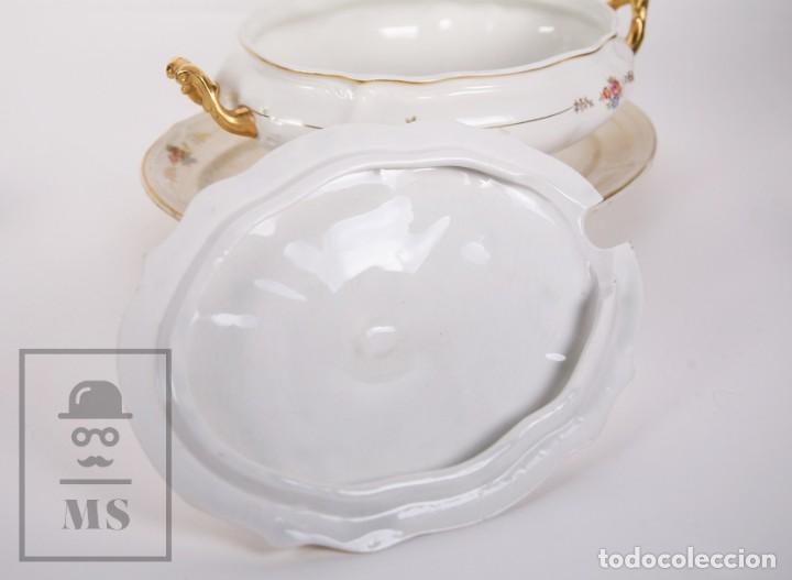 Antigüedades: Conjunto de Sopera, Fuente y Salsera de Loza / San Claudio - Oviedo, Asturias - Motivos Florales - Foto 11 - 166871292