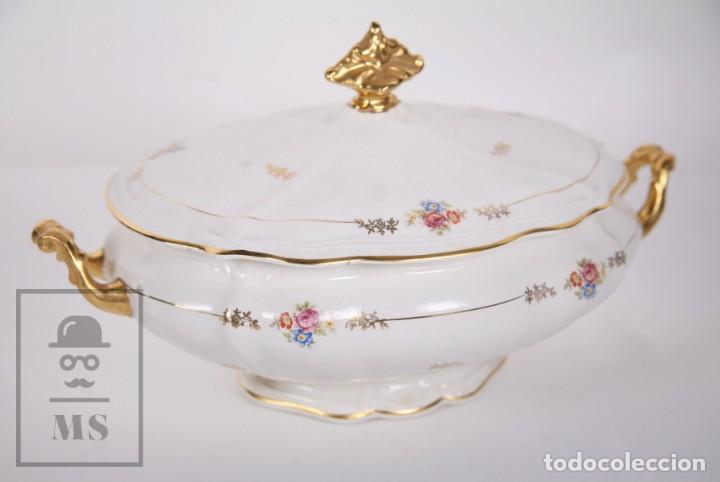 Antigüedades: Conjunto de Sopera, Fuente y Salsera de Loza / San Claudio - Oviedo, Asturias - Motivos Florales - Foto 12 - 166871292