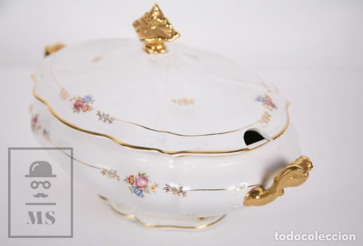 Antigüedades: Conjunto de Sopera, Fuente y Salsera de Loza / San Claudio - Oviedo, Asturias - Motivos Florales - Foto 20 - 166871292