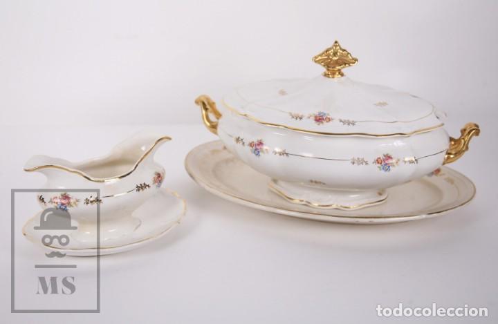 Antigüedades: Conjunto de Sopera, Fuente y Salsera de Loza / San Claudio - Oviedo, Asturias - Motivos Florales - Foto 21 - 166871292