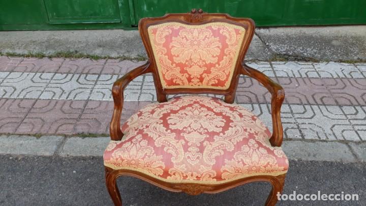 Antigüedades: Pequeño tresillo sofá antiguo estilo Luis XV. 116 CM LARGO. + 2 sillones antiguos vintage. - Foto 9 - 166884288