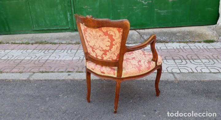 Antigüedades: Pequeño tresillo sofá antiguo estilo Luis XV. 116 CM LARGO. + 2 sillones antiguos vintage. - Foto 11 - 166884288