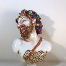 Antigüedades: FIGURA PORCELANA-ITALIA-NÁPOLES- BUSTO DE BACO/DIONISO- 25 CM.. Lote 166897238