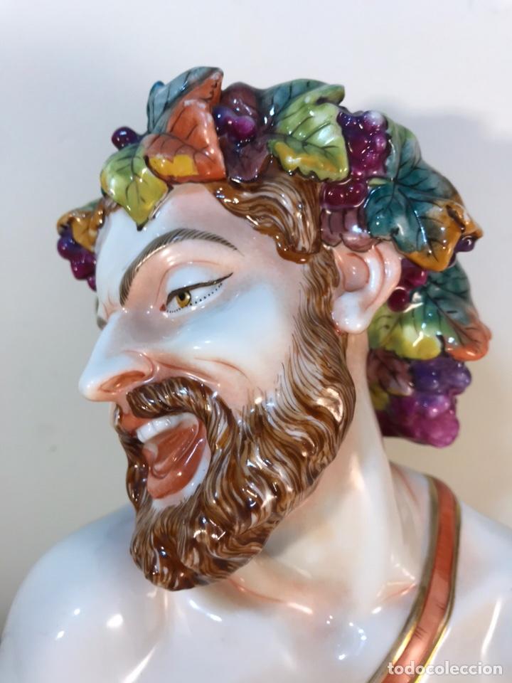 Antigüedades: Figura Porcelana-Italia-Nápoles- Busto de Baco/Dioniso- 25 cm. - Foto 7 - 166897238