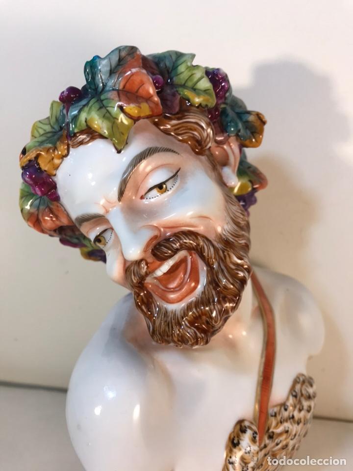 Antigüedades: Figura Porcelana-Italia-Nápoles- Busto de Baco/Dioniso- 25 cm. - Foto 11 - 166897238