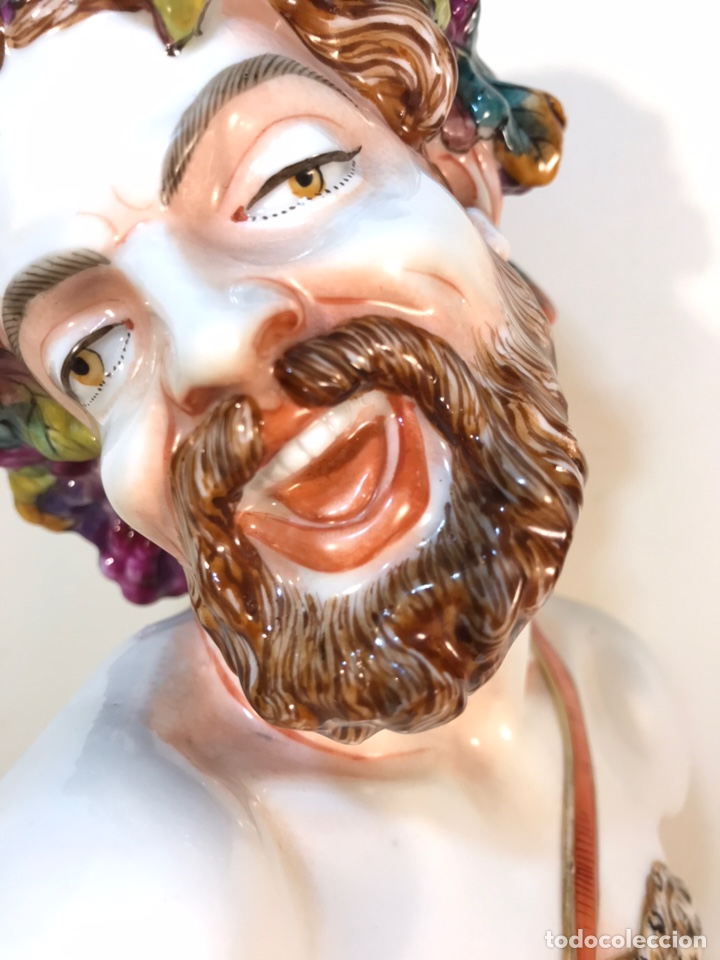 Antigüedades: Figura Porcelana-Italia-Nápoles- Busto de Baco/Dioniso- 25 cm. - Foto 13 - 166897238