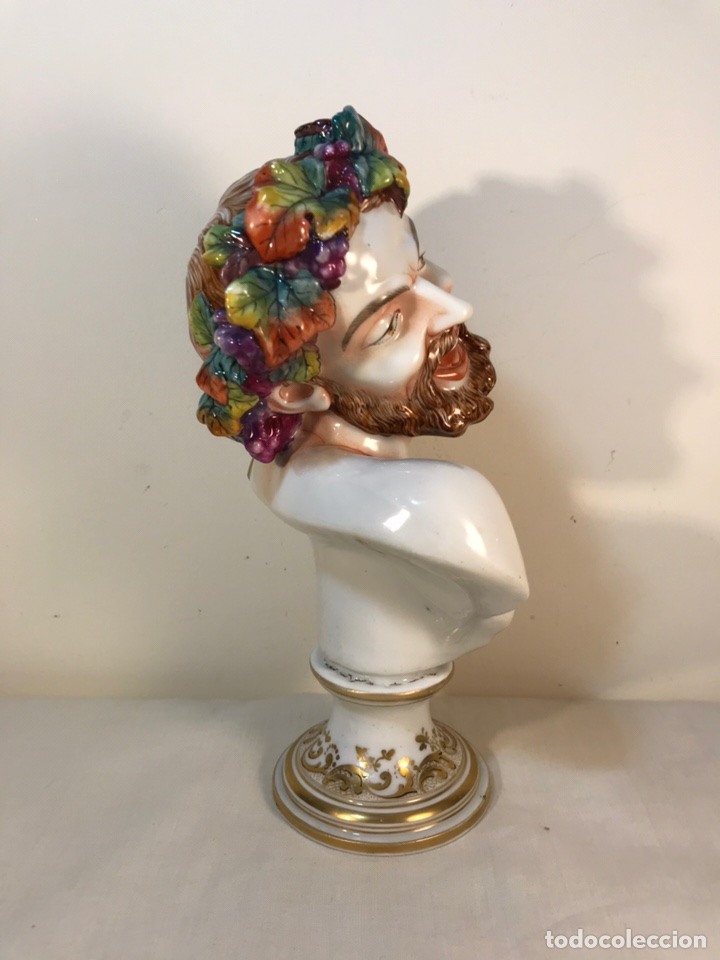 Antigüedades: Figura Porcelana-Italia-Nápoles- Busto de Baco/Dioniso- 25 cm. - Foto 15 - 166897238