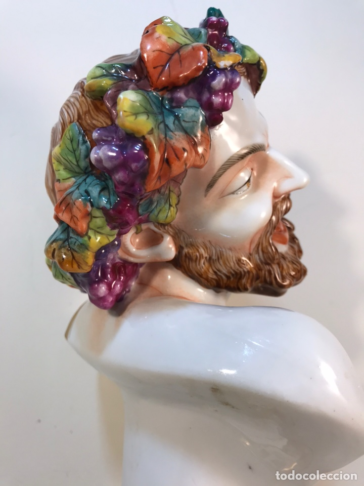 Antigüedades: Figura Porcelana-Italia-Nápoles- Busto de Baco/Dioniso- 25 cm. - Foto 18 - 166897238