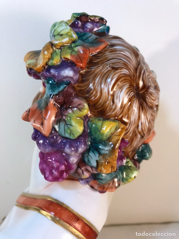 Antigüedades: Figura Porcelana-Italia-Nápoles- Busto de Baco/Dioniso- 25 cm. - Foto 27 - 166897238