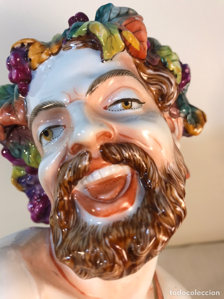 Antigüedades: Figura Porcelana-Italia-Nápoles- Busto de Baco/Dioniso- 25 cm. - Foto 34 - 166897238