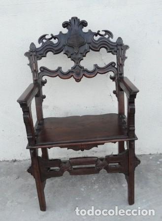 SILLON ANTIGUO, RENACIMIENTO MADERA DE NOGAL TALLADA (Antigüedades - Muebles Antiguos - Sillones Antiguos)