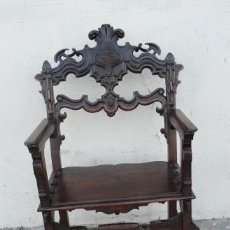 Antigüedades: SILLON ANTIGUO, RENACIMIENTO MADERA DE NOGAL TALLADA. Lote 166898488