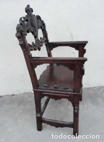Antigüedades: Sillon antiguo, renacimiento madera de nogal tallada - Foto 7 - 166898488