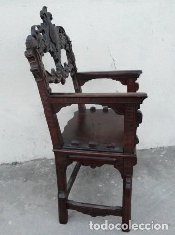 Antigüedades: Sillon antiguo, renacimiento madera de nogal tallada - Foto 8 - 166898488