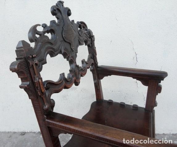 Antigüedades: Sillon antiguo, renacimiento madera de nogal tallada - Foto 9 - 166898488