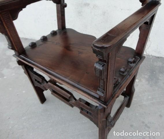 Antigüedades: Sillon antiguo, renacimiento madera de nogal tallada - Foto 13 - 166898488