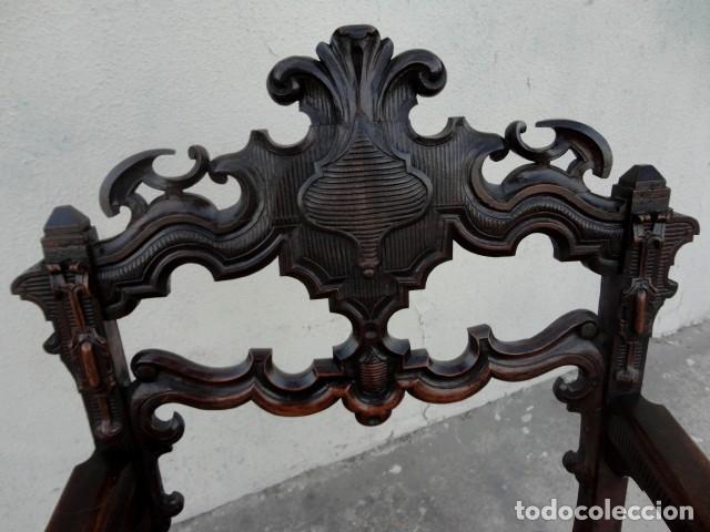 Antigüedades: Sillon antiguo, renacimiento madera de nogal tallada - Foto 16 - 166898488