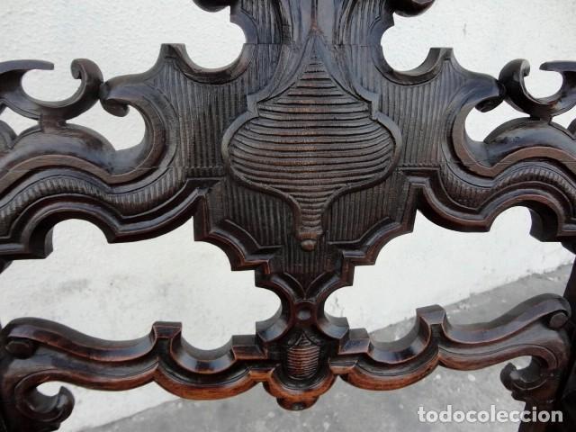 Antigüedades: Sillon antiguo, renacimiento madera de nogal tallada - Foto 17 - 166898488