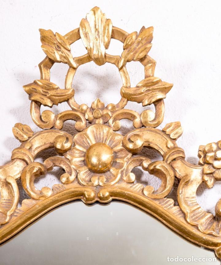 Antigüedades: Espejo Antiguo De Madera y Pan De Oro - Foto 2 - 166903616