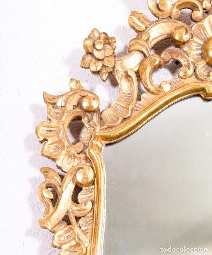 Antigüedades: Espejo Antiguo De Madera y Pan De Oro - Foto 3 - 166903616