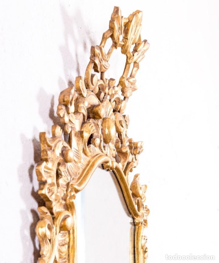 Antigüedades: Espejo Antiguo De Madera y Pan De Oro - Foto 4 - 166903616