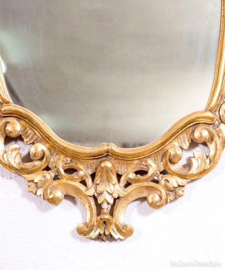 Antigüedades: Espejo Antiguo De Madera y Pan De Oro - Foto 6 - 166903616