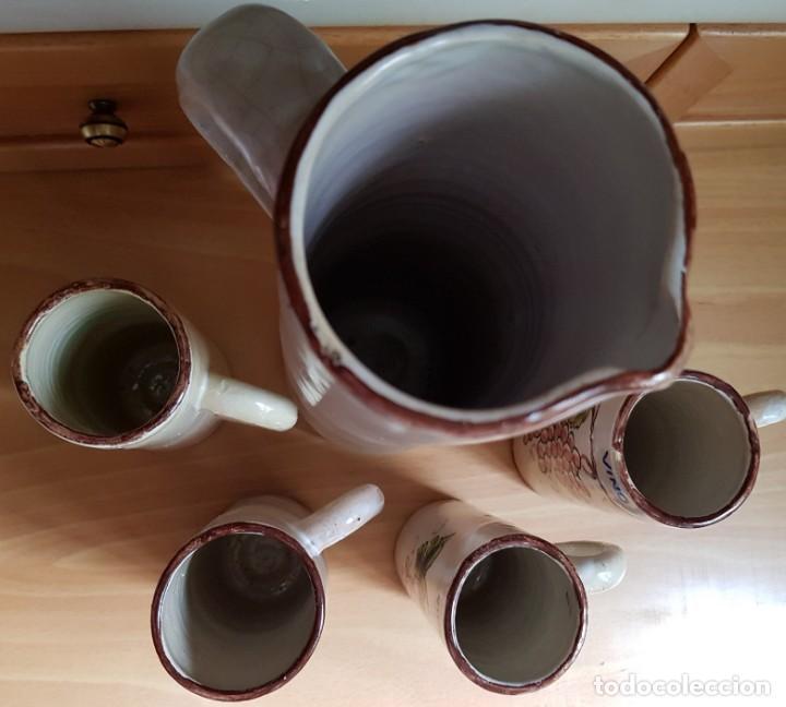 Antigüedades: Precioso Juego de jarra grande y 4 pequeñas - Sellado Talavera Saso - Foto 4 - 166945852
