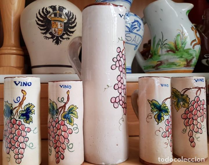 Antigüedades: Precioso Juego de jarra grande y 4 pequeñas - Sellado Talavera Saso - Foto 2 - 166945852