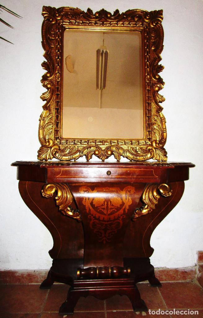 PRECIOSA CONSOLA EN MADERA MARQUETERIA Y TALLA DORADA CON ESPEJO CORNUCOPIA LUIS XVI (Antigüedades - Muebles Antiguos - Consolas Antiguas)