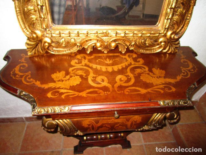 Antigüedades: PRECIOSA CONSOLA EN MADERA MARQUETERIA Y TALLA DORADA CON ESPEJO CORNUCOPIA LUIS XVI - Foto 3 - 166957880