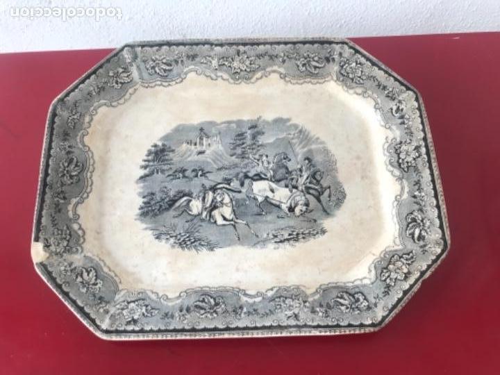 FUENTE DE CARTAGENA. FABRICA DE LA AMISTAD. ESCENA CAZA DEL TORO. FINALES DEL S. XIX. (Antigüedades - Porcelanas y Cerámicas - Cartagena)