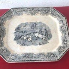 Antigüedades: FUENTE DE CARTAGENA. FABRICA DE LA AMISTAD. ESCENA CAZA DEL TORO. FINALES DEL S. XIX. . Lote 166986488