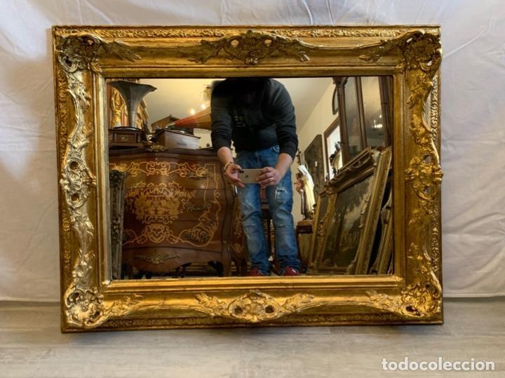 Antigüedades: ESPEJO EN MADERA Y PAN DE ORO - Foto 2 - 166992128