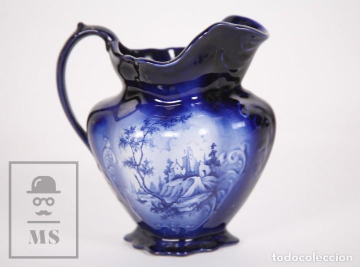 JARRA DE PORCELANA INGLESA VIDRIADA PINTADA A MANO - OLDCOURT WARE, STAFFORDSHIRE - INGLATERRA (Antigüedades - Porcelanas y Cerámicas - Inglesa, Bristol y Otros)