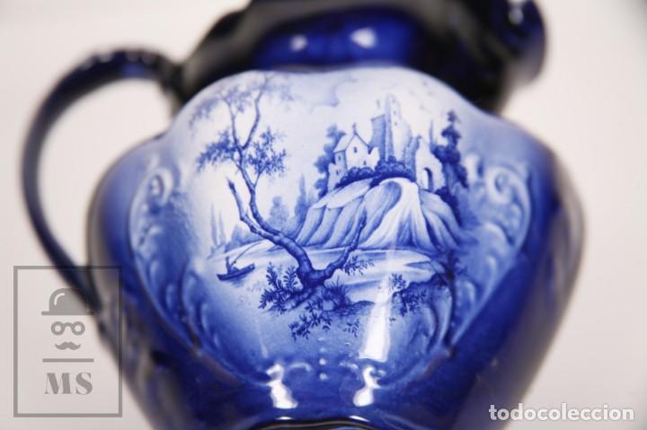 Antigüedades: Jarra de Porcelana Inglesa Vidriada Pintada a Mano - Oldcourt Ware, Staffordshire - Inglaterra - Foto 6 - 167010152