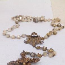 Antigüedades: ROSARIO DE PLATA BOLAS DE NACAR. Lote 167010480