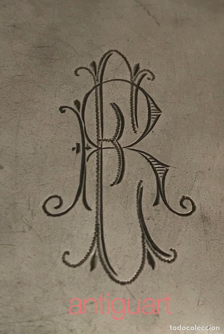 Antigüedades: Pitillera de plata 800 con iníciales grabadas (ER) principios del siglo XX - Foto 3 - 167026382