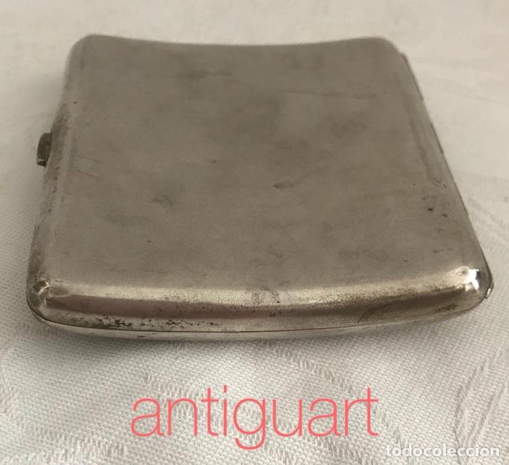 Antigüedades: Pitillera de plata 800 con iníciales grabadas (ER) principios del siglo XX - Foto 4 - 167026382