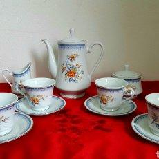 Antigüedades: JUEGO DE CAFÉ PORCELANA IMPERIAL FINE CHINA FILO DE PLATA. Lote 167075953