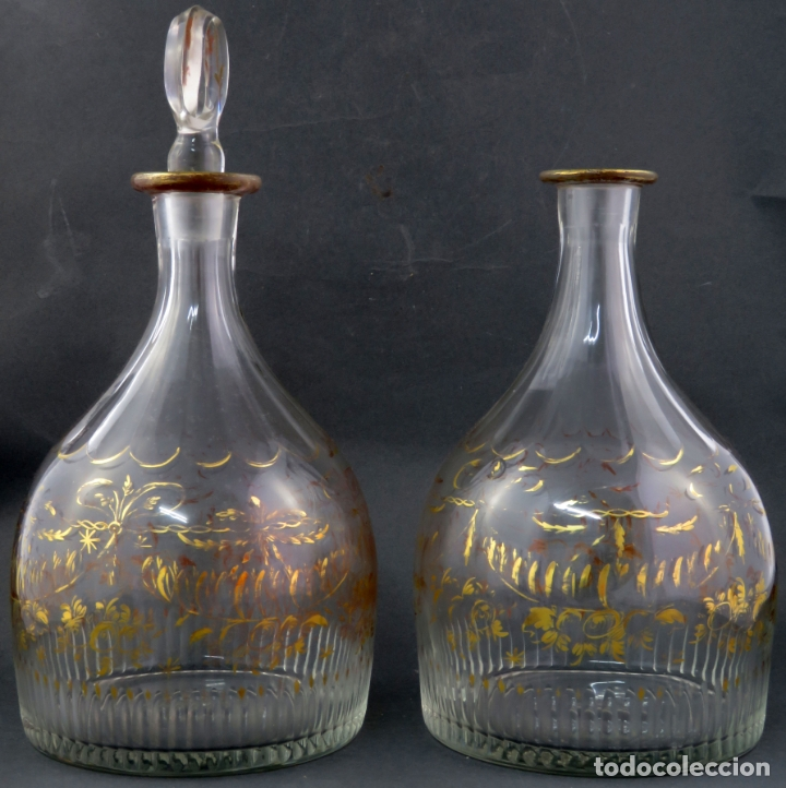 Antigüedades: Pareja de licoreras en cristal soplado tallado y dorado de La Granja siglo XIX - Foto 5 - 167104700