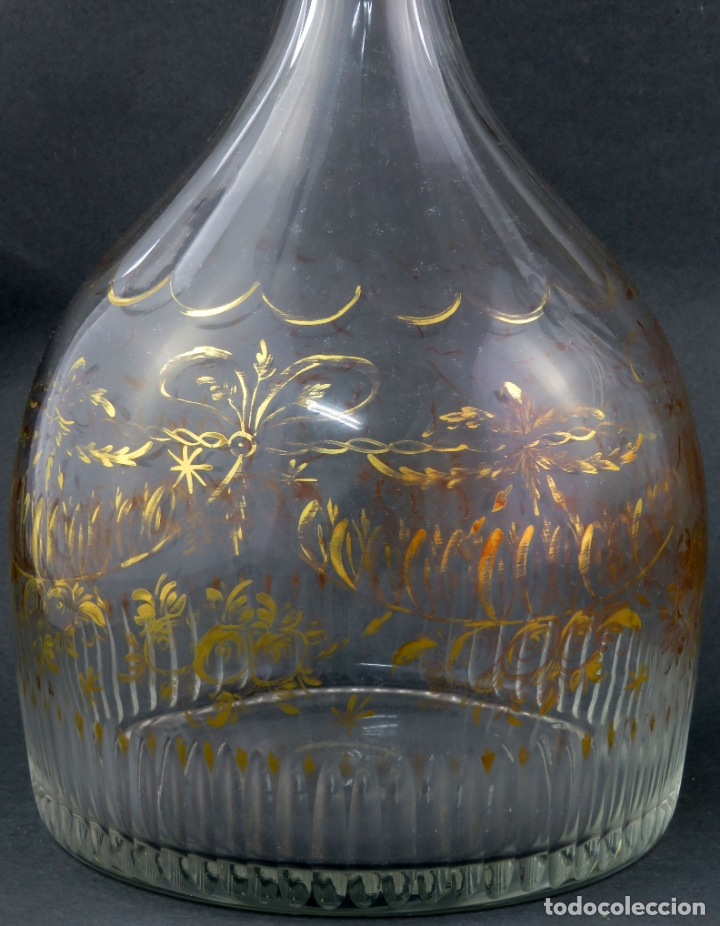 Antigüedades: Pareja de licoreras en cristal soplado tallado y dorado de La Granja siglo XIX - Foto 6 - 167104700