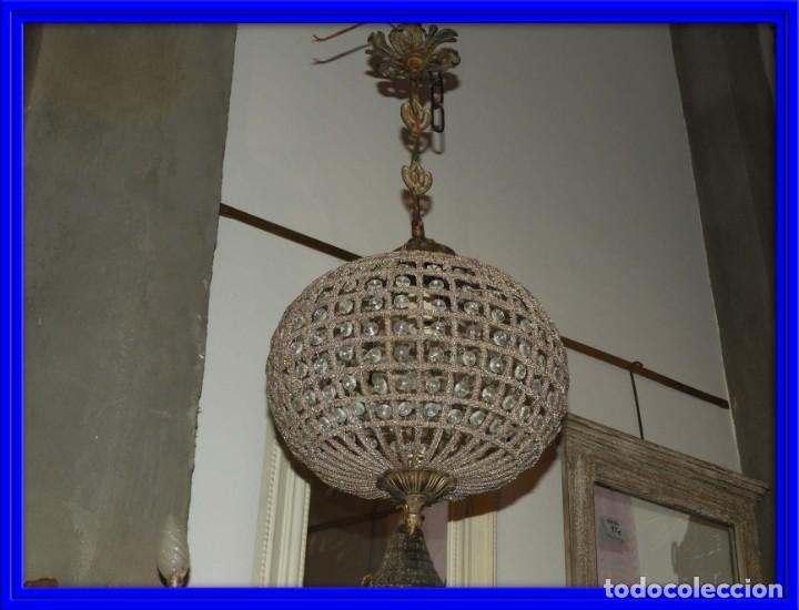 LAMPARA GLOBO DE CRISTALES Y BRONCE. TENGO OTRA MAS GRANDE (Antigüedades - Iluminación - Lámparas Antiguas)