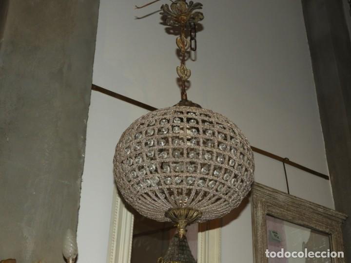 Antigüedades: LAMPARA GLOBO DE CRISTALES Y BRONCE. TENGO OTRA MAS GRANDE - Foto 7 - 167138392