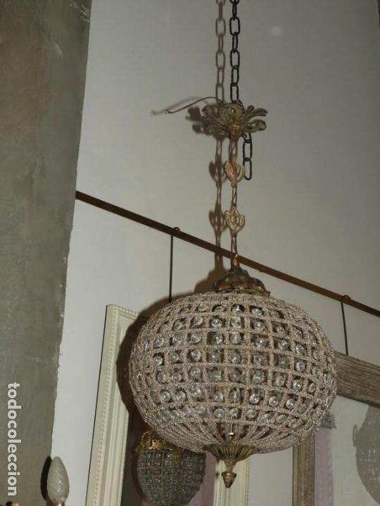 Antigüedades: LAMPARA GLOBO DE CRISTALES Y BRONCE. TENGO OTRA MAS GRANDE - Foto 2 - 167138392