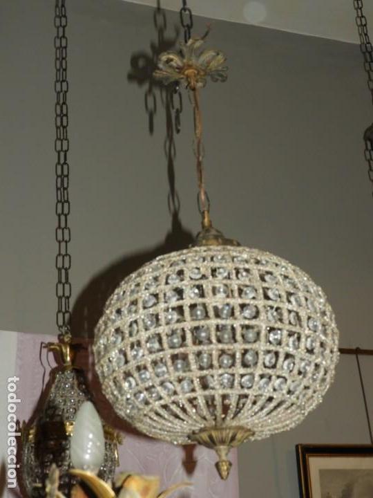 Antigüedades: LAMPARA GLOBO DE CRISTALES Y BRONCE. TENGO OTRA MAS GRANDE - Foto 3 - 167138392